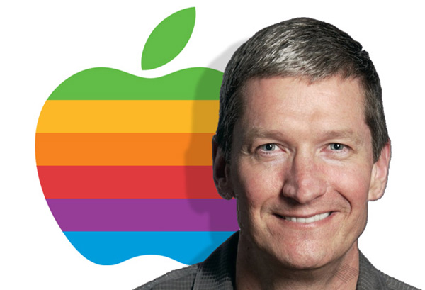 Tim Cook with Rainbow Apple Logo