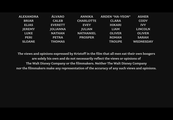Frozen End Credits Kristoff Disclaimer